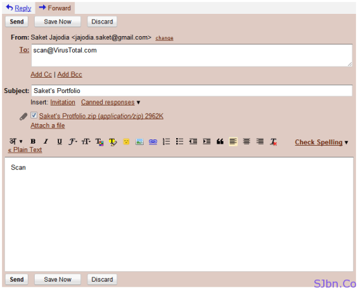 Gmail email composer – to VirusTotal