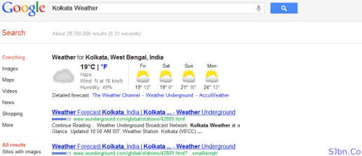 Google Weather Search For Kolkata