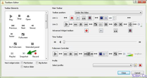 VLC Media Player - Toolbar Editor