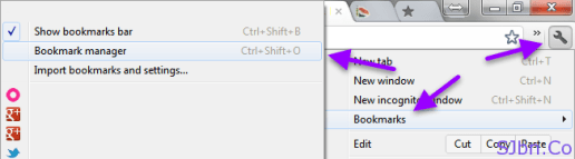 Chrome - Customize and control -- Bookmark --Bookmark manager