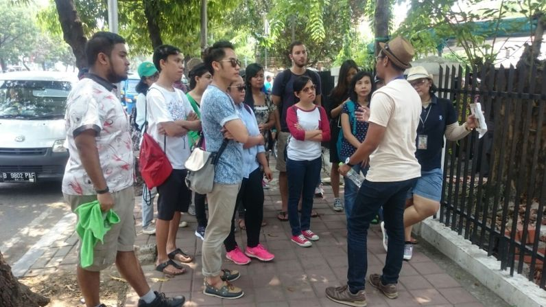 Our guide is explaining about Gereja Ayam.