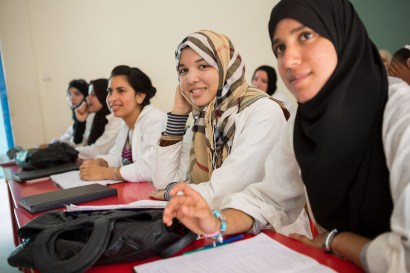 Students learn in a vocational training course in Agadir, Morocco.