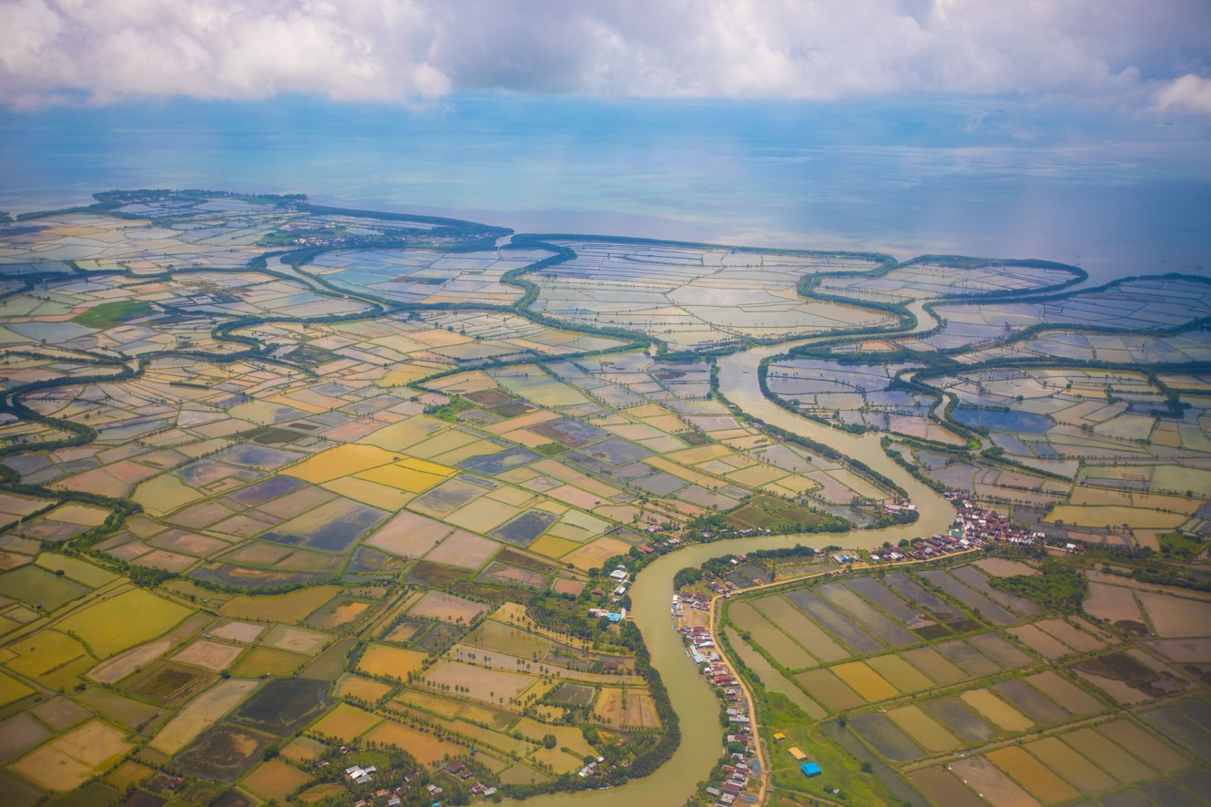 Rice fields are seen from the air outside Makassar, Indonesia.