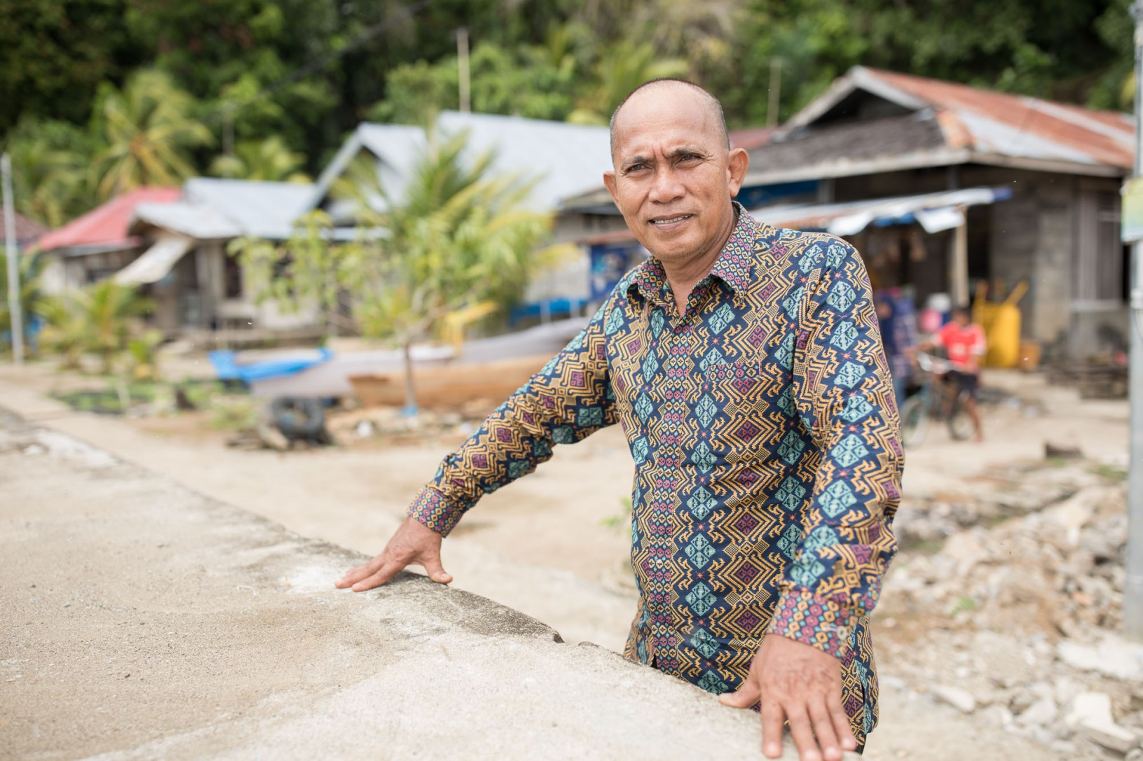 Supriadi (50) is the head of the village of Karampuang, Indonesia. Residents here have received solar-powered electricity for the first time under MCC Green Prosperity project.