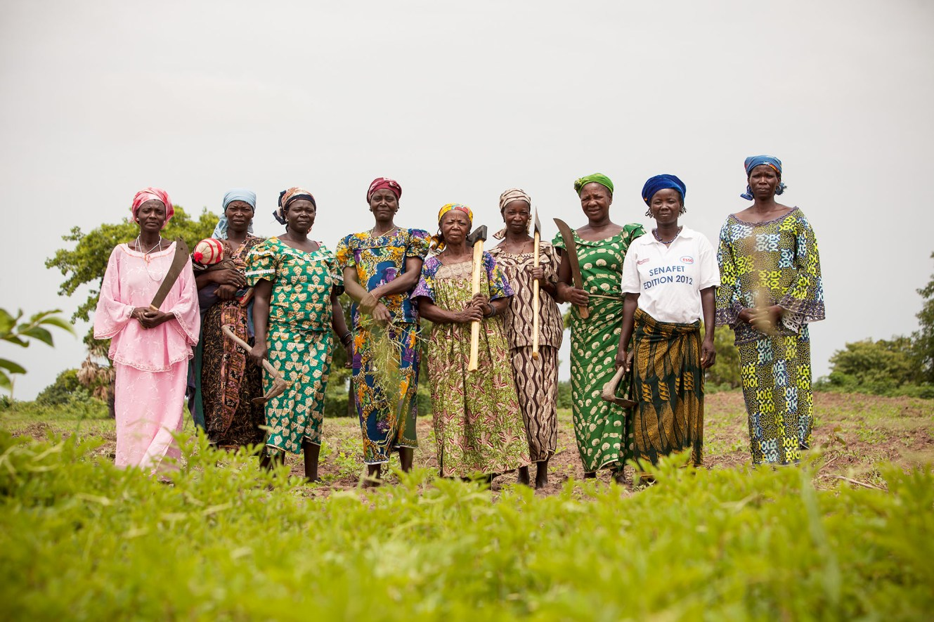 Members of a small farmers' cooperative stand together in Doba, Chad.