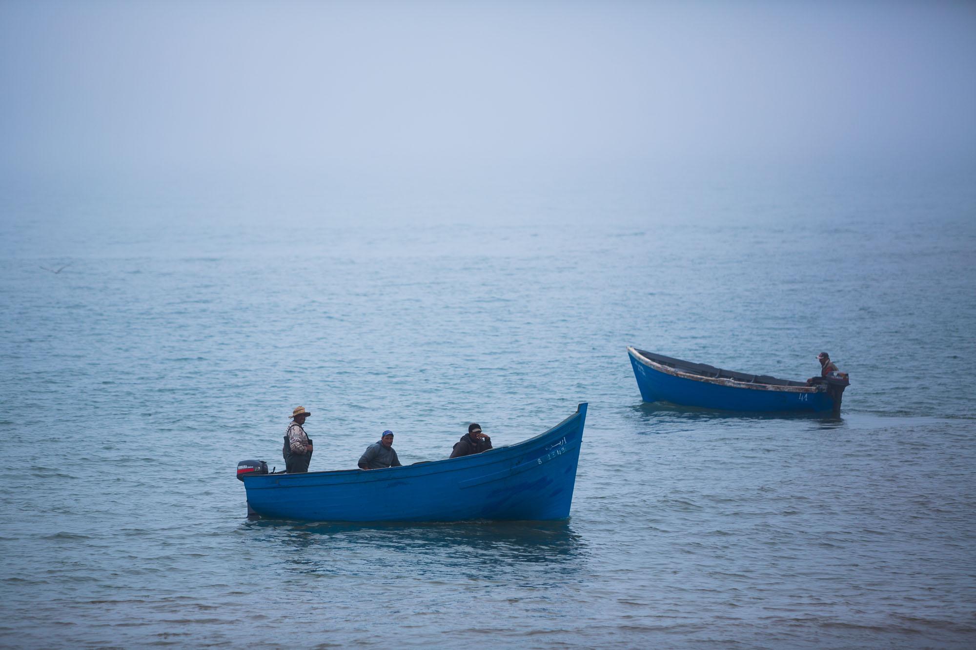 Fisherman at sea off the coast of Agadir, Morocco.