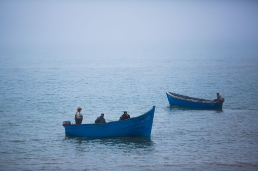 Fisherman at sea off the coast of Agadir, Morocco.