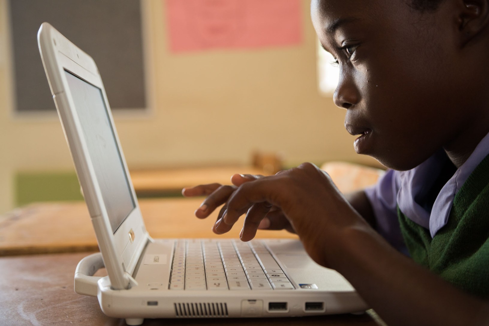 A sixth grade student learns using a laptop in Oshana Region, Namibia.