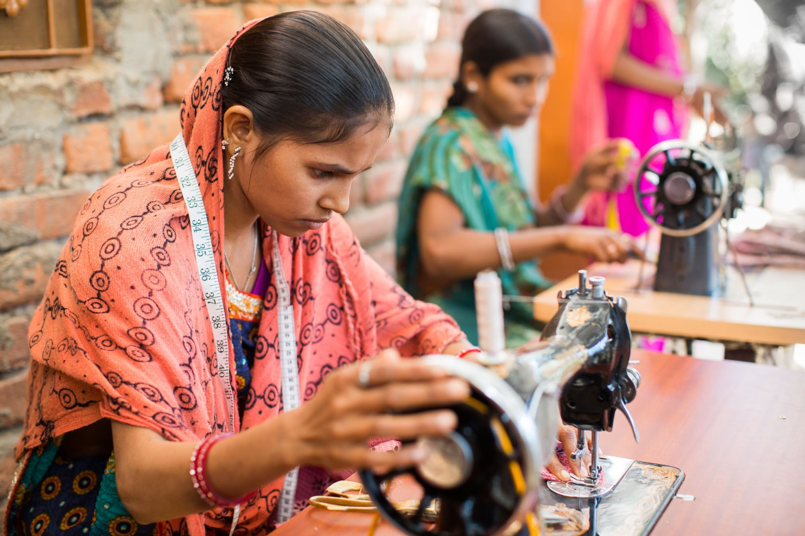 Sharda Kumari (18) learns sewing and tailoring at a ChildFund vocational training center in Rajasthan, India.