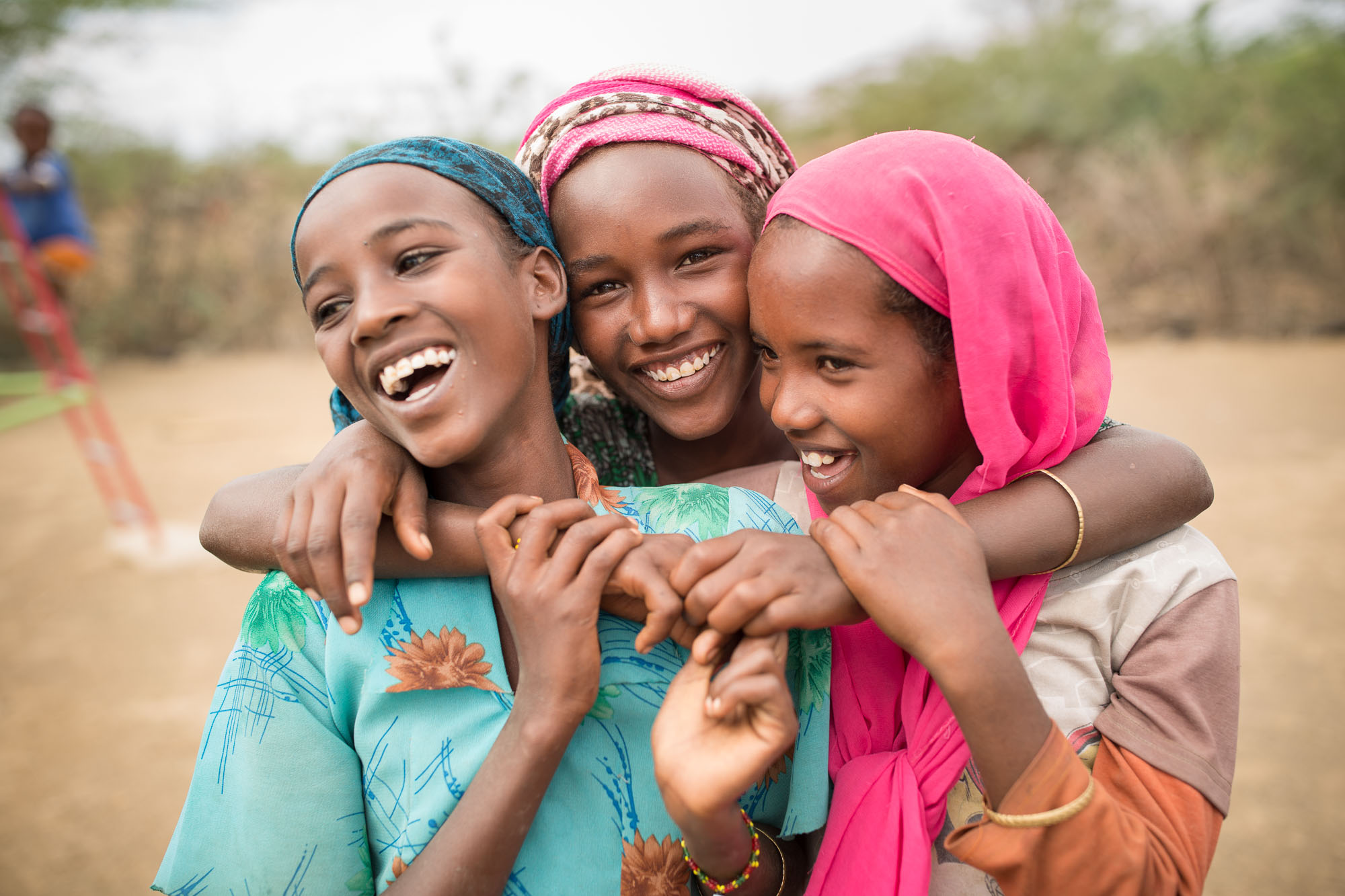 Adolescent girls huddle together in Fentale District, Ethiopia.
