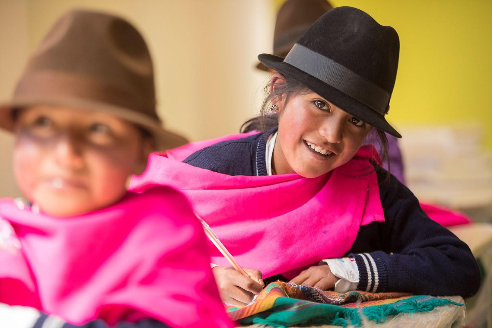Marisol (9) attends elementary school in Cotopaxi Province, Ecuador.