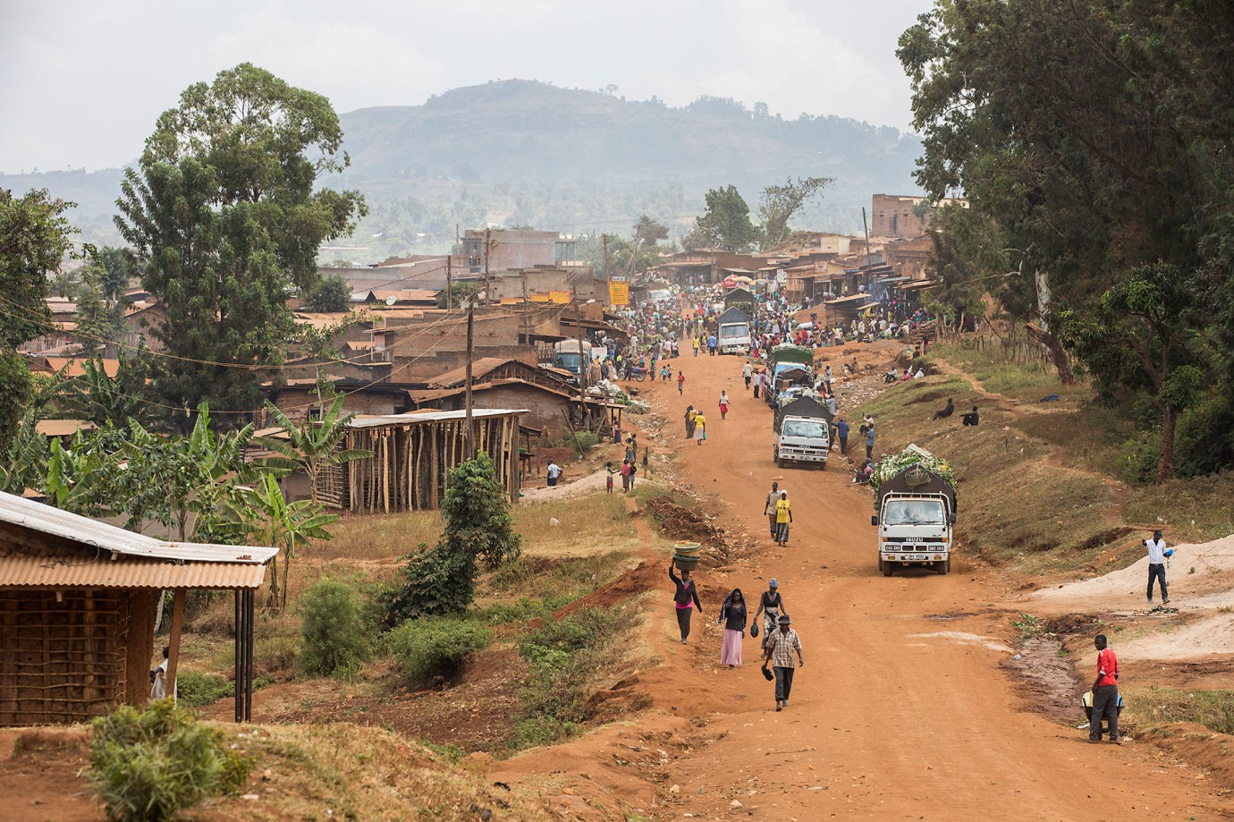 Unpaved roads make for difficult travel on Uganda's Mount Elgon.