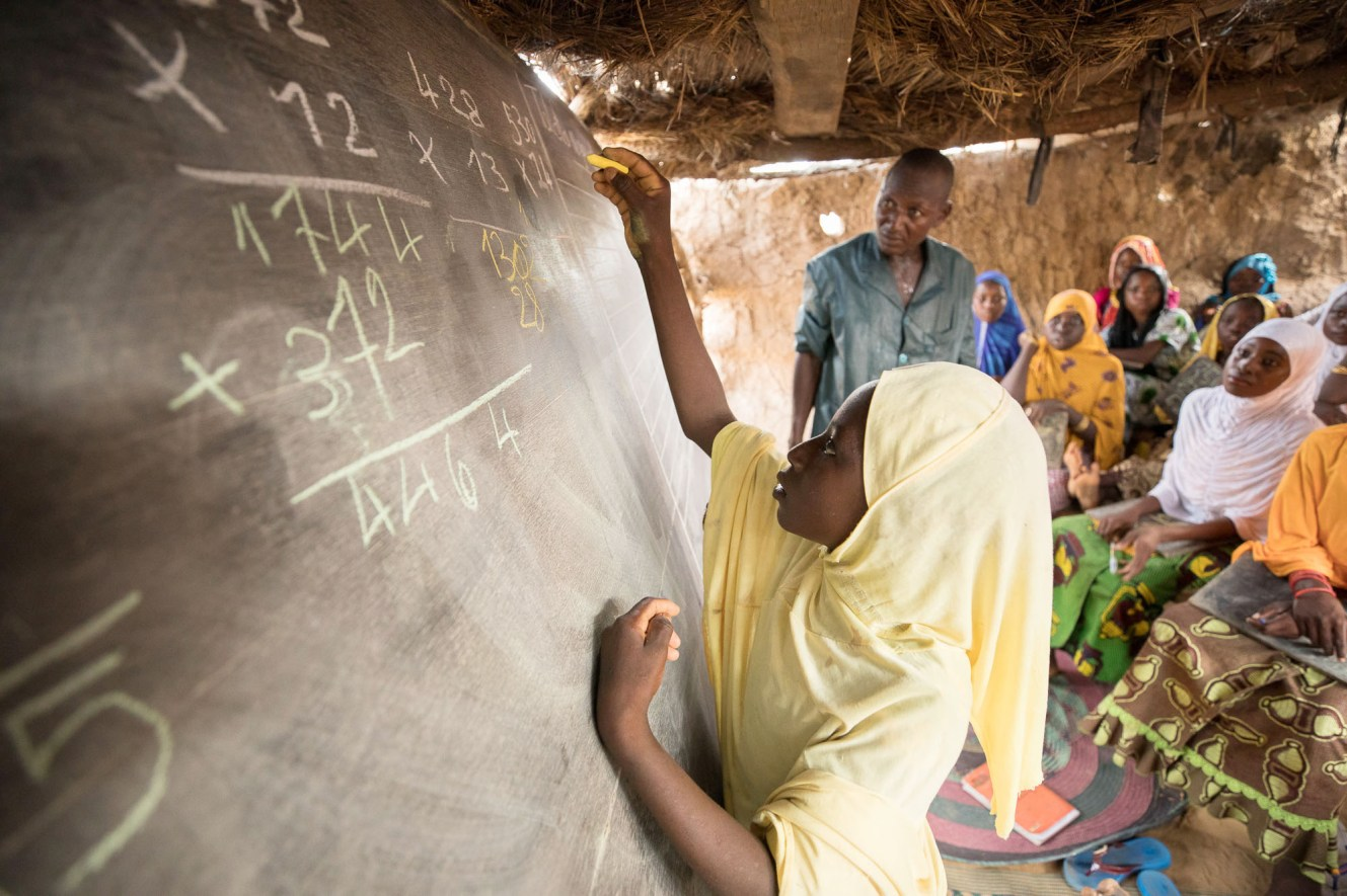 A girl attends a functional literacy course in Tahoua Region, Niger.