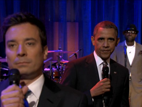 "President Obama became the first US President to ""Slow Jam the News"" with Jimmy Fallon. (Photo property of NBC's Lloyd Bishop)"