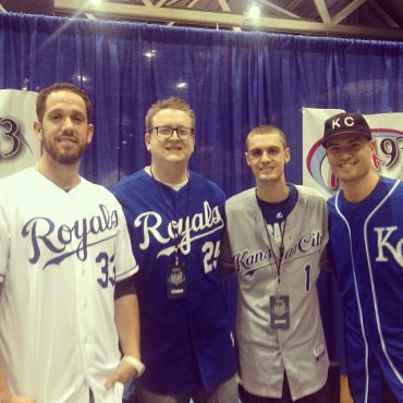 Mix 93.3 personalities and diehard Kansas City Royals fans Dave O and Nathan Graham (center) pose with James Shields (left) and Jeremy Guthrie (right) at the 2014 Royals Fan Fest. (Photo courtesy of Nathan Graham)