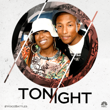 "Pharrell posed with his advisor, Missy Elliott, before taping his ""Voice: Season Nine"" Battle Round rehearsals with his team. (Graphic property of NBC & United Artists Media Group)"
