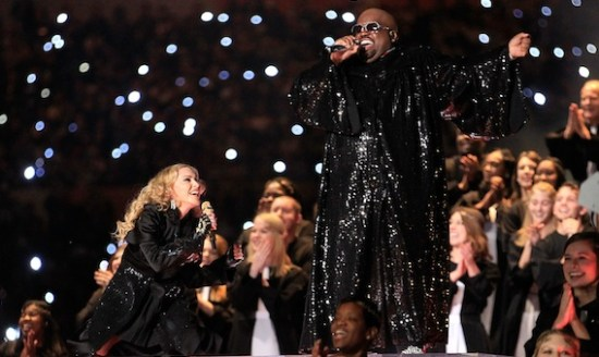"""Madonna & CeeLo Green took the Super Bowl audience to church when they sang """"Like A Prayer"""" during the 2012 Super Bowl. (Photo property of FilmMagic's Jeff Kravitz)"""
