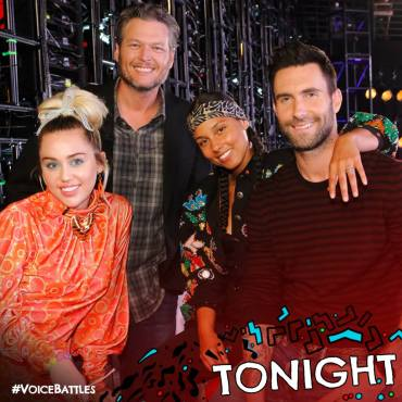 Miley, Blake, Alicia, and Adam pose before the taping of the Season 11 Battle Rounds. (Photo property of NBC & MGM TV)