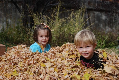 kids, play, dirty, pile of leaves