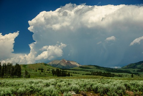 clouds, rocky mountains