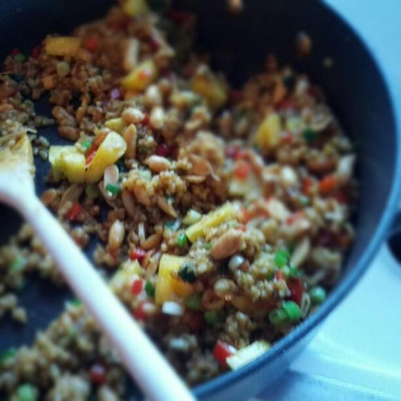 (Almost) Vegan Pineapple Fried Rice. Pretty tasty...