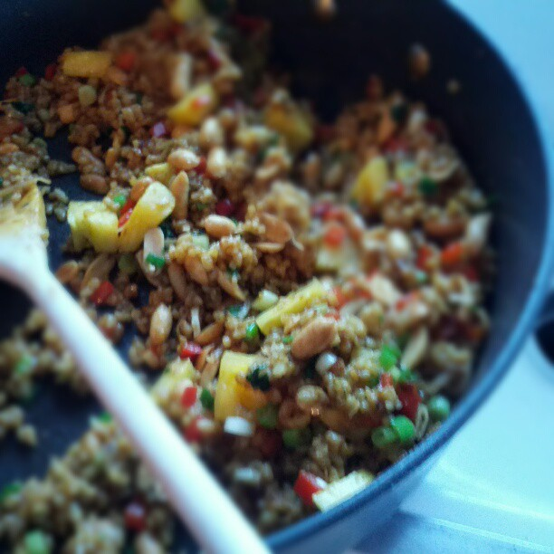 (Almost) Vegan Pineapple Fried Rice. Pretty tasty...