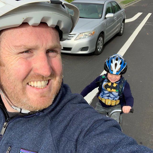 My lil bike buddy on the way to school today.