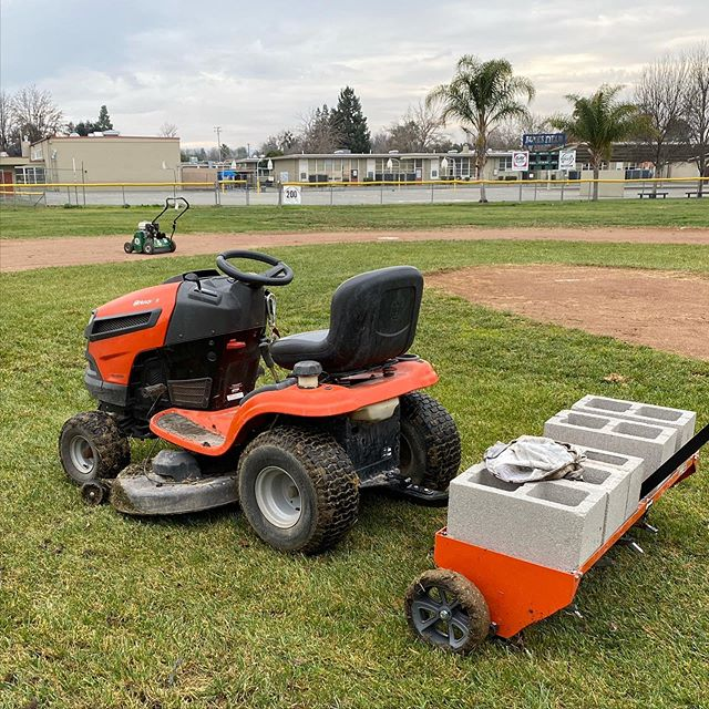 Did some aerating and power raking at the baseball fields today. Going to look awesome in a few months!