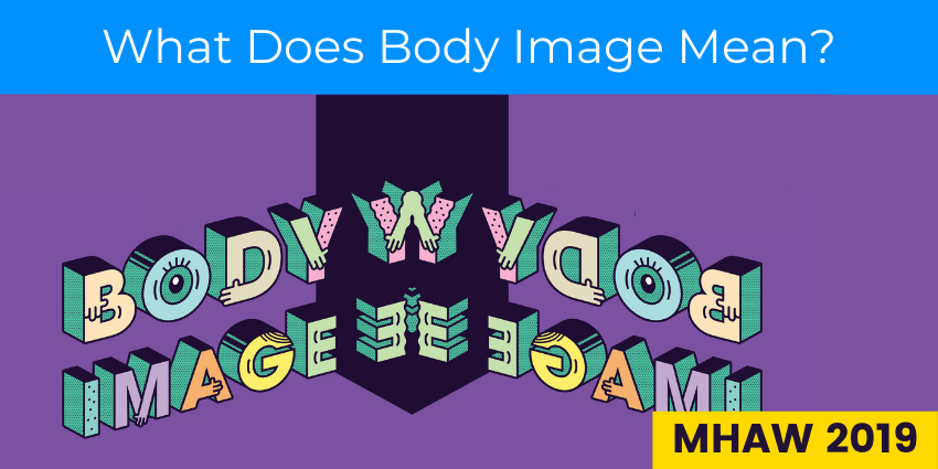 """""""Body Image"""" Bubble Text reflected in a mirror with text reading """"What Does Body Image Mean?"""""""""""