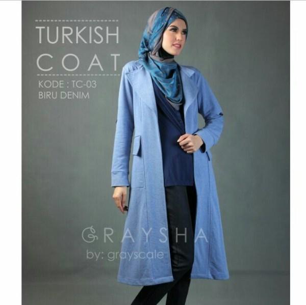 Desain Jaket Muslimah Turkish Coat