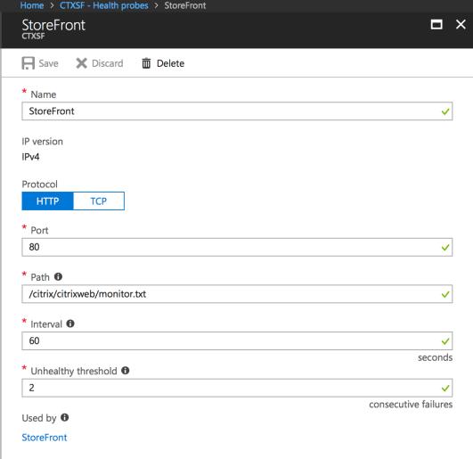 Load Balancing Citrix StoreFront with Azure Load Balancer