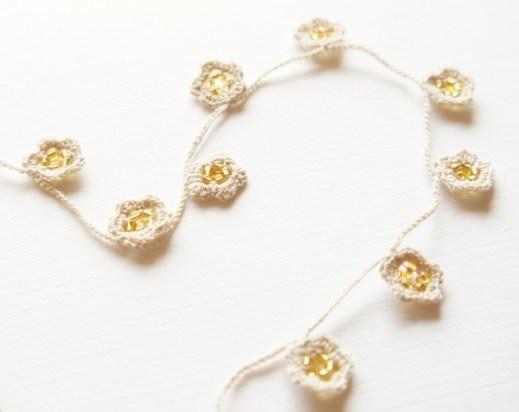 Turkish Oya Pattern Delicate Crochet Flower Necklace Jakigu