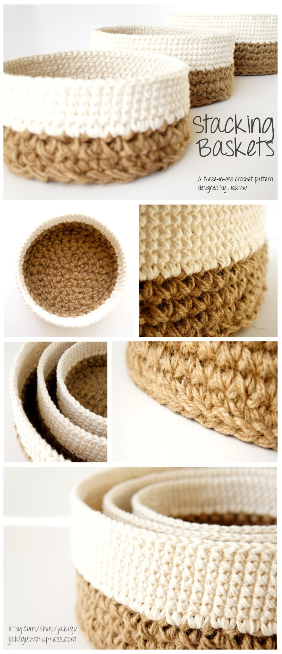 Round jute and cotton stacking baskets - original crochet pattern by jakigu.com