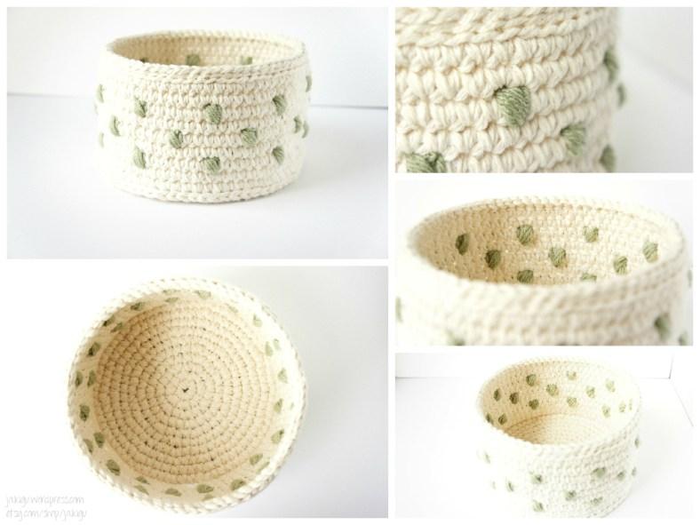 Polka Dot Crochet Basket Collage by JaKiGu