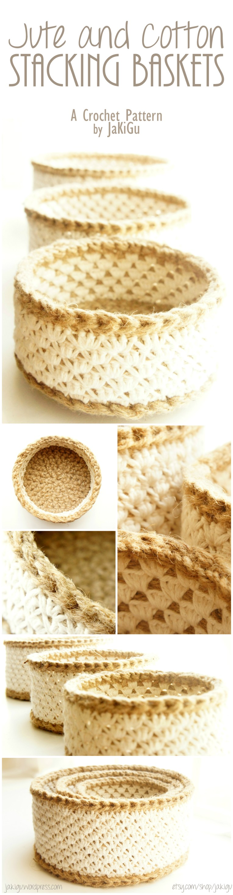 Stacking Crochet Baskets, a Pattern Designed by JaKiGu