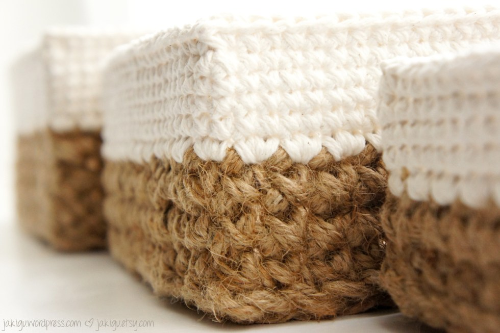 crochet pattern: square jute and cotton stacking baskets ...