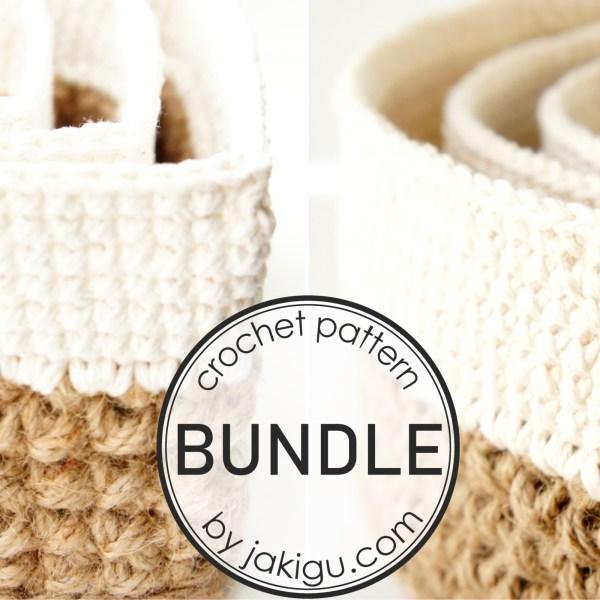 Crochet Pattern Bundle by jakigu.com | Jute and Cotton Stacking Baskets
