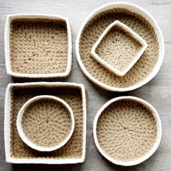 Round and Square Jute and Cotton Stacking Basket - Crochet Pattern Bundle by jakigu.com