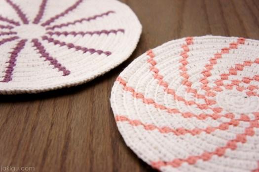 Crochet Potholder - Bag Bottom - Basket Base - Crochet over Coil