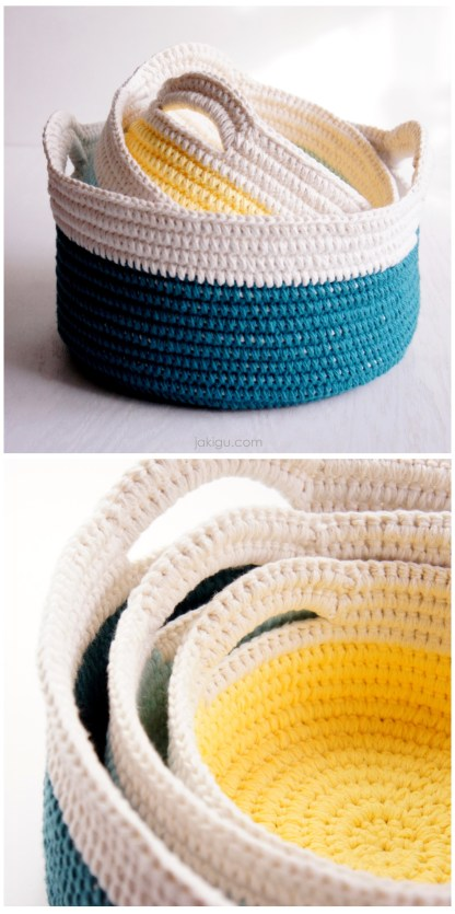 Sturdy Baskets with Handles - crochet pattern by jakigu.com