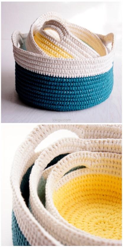 Sturdy Baskets with Handles - crochet pattern by jakigu.com