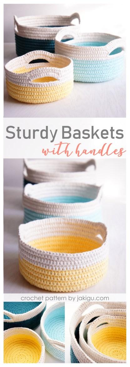 Sturdy crochet baskets with handles   jakigu.com