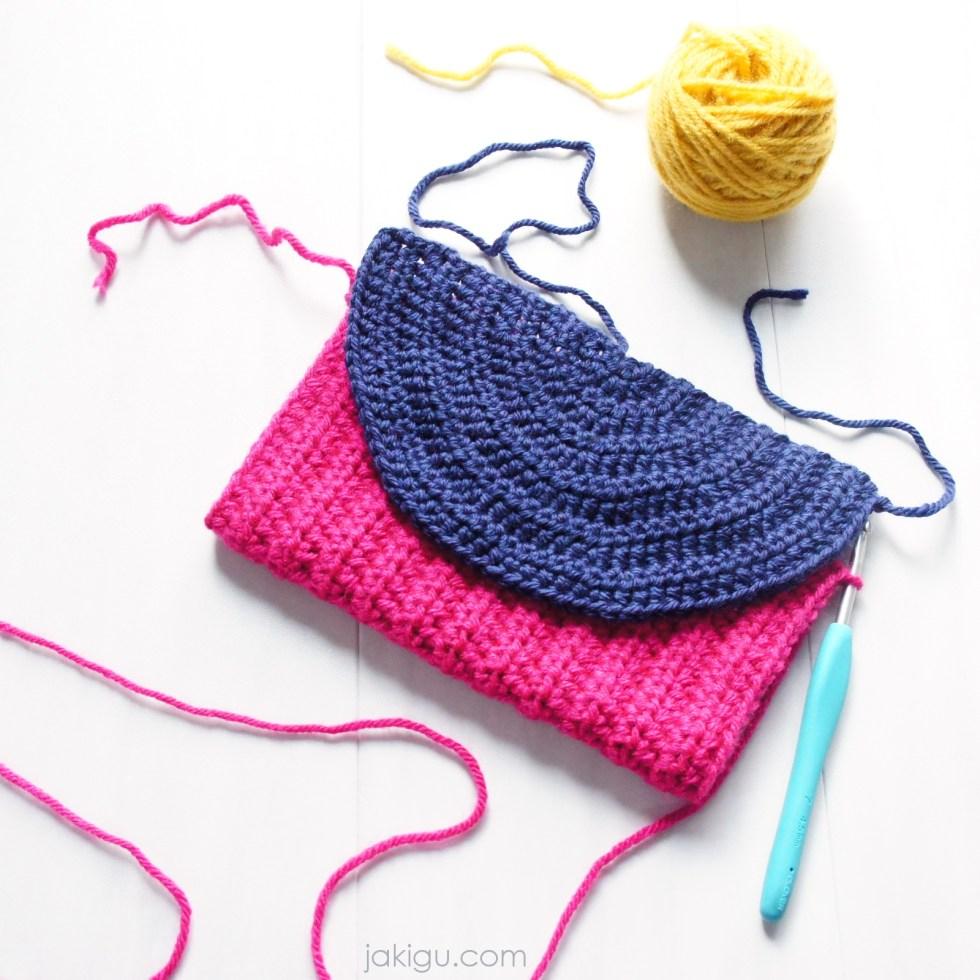 Bold crochet clutch - handbag - journal cover