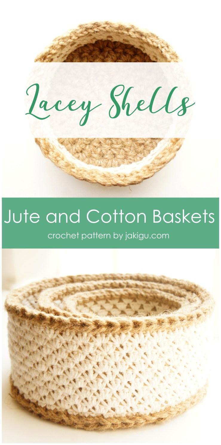 Crocheting with jute - basket set crochet pattern by jakigu.com