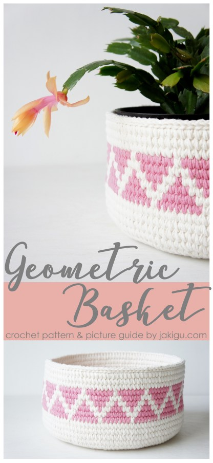 Geometric Crochet Basket Pattern by JaKiGu