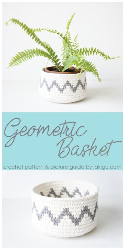 Grey Chevron Crochet Basket - geometric crochet pattern by jakigu.com