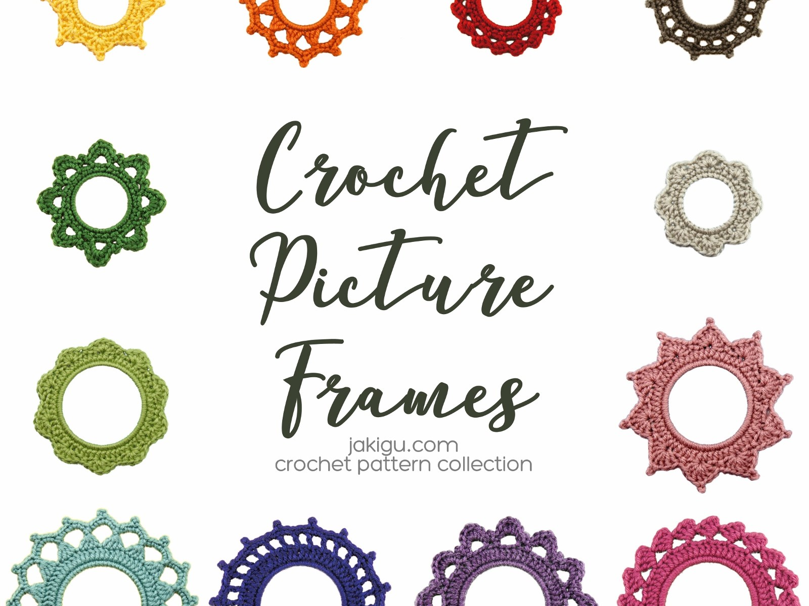 Crochet Picture Frame Pattern Collection by jakigu.com