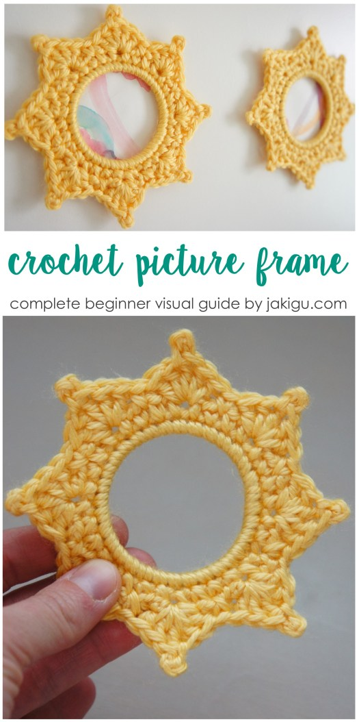 Crochet picture frame pattern and beginner crochet guide by jakigu.com