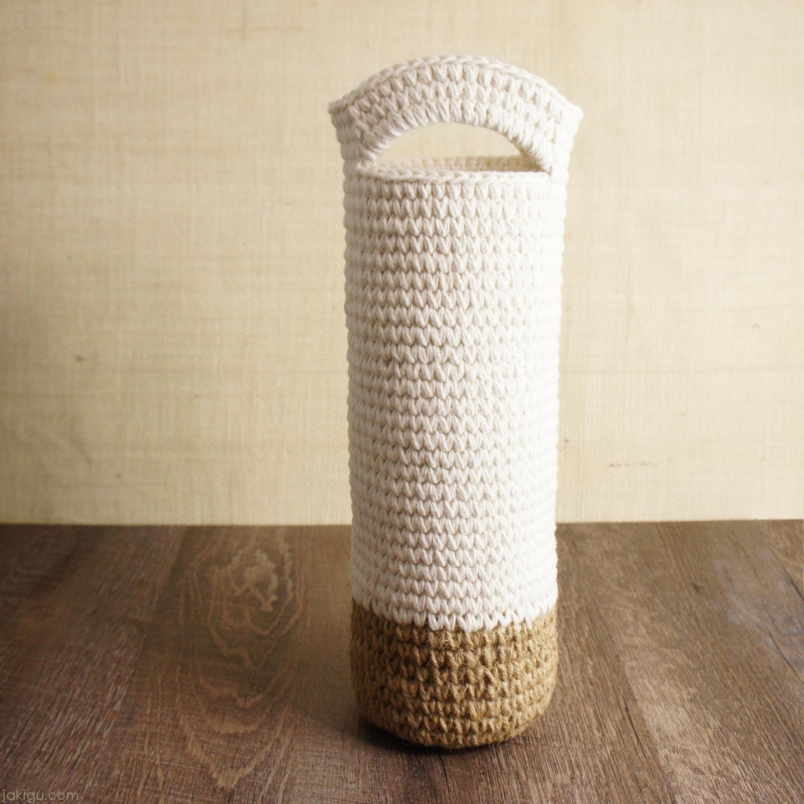 Jute and Cotton Wine Bag | | jakigu.com crochet pattern