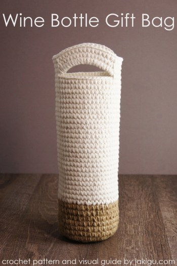 Crochet Wine Bottle Gift Bag, detailed pattern by jakigu.com